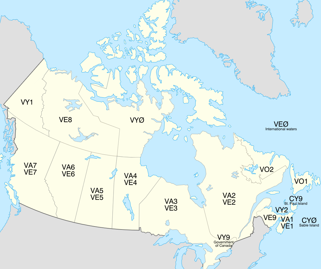 Canada Call Areas